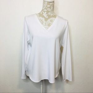 Eileen Fisher V Neck Top Large White LQ129